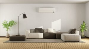 modern-living-room-with-ductless-air-handler-on-wall